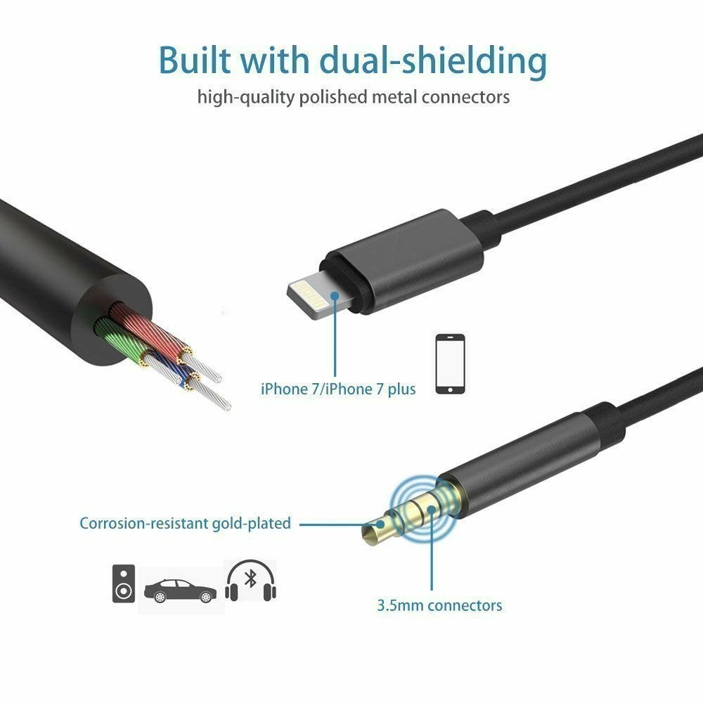 new style 7d101 08f8a Lightning to 3.5mm Male Aux Audio Cable iPhone 7 Car Aux Cable, Seotic  3.3ft / 1M Lightning to Male 3.5mm Auxiliary Audio Stereo Cord for iPhone 7  / 7 ...