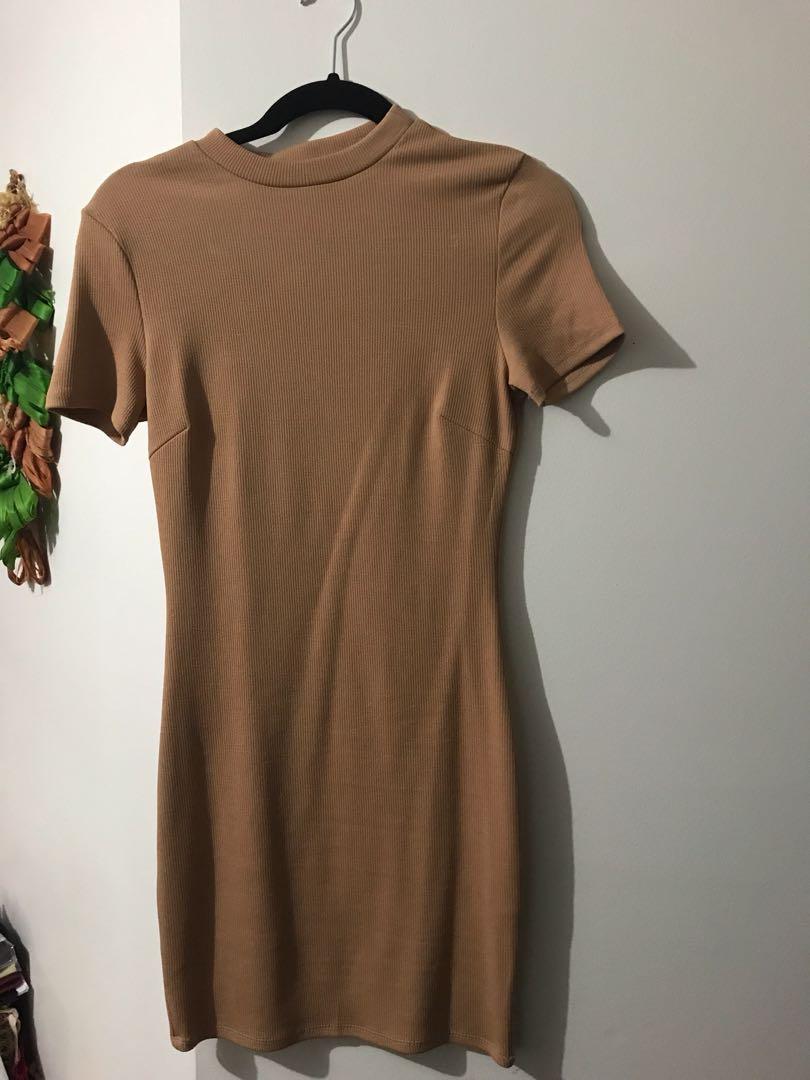 Morning Mist Camel body con dress