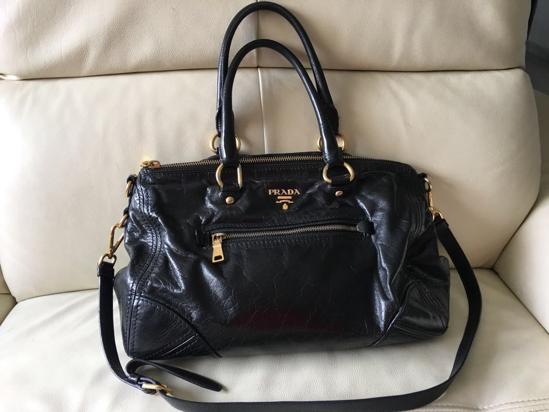 56320812346a Prada Vitello Shine Nero, Luxury, Bags & Wallets, Handbags on Carousell