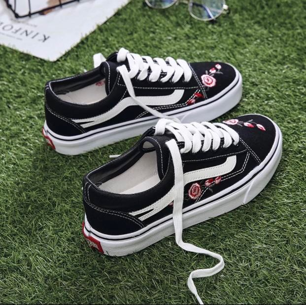 9cd88da32727 ✨PRICE REDUCED black canvas sneakers rose embroided flower floral ...