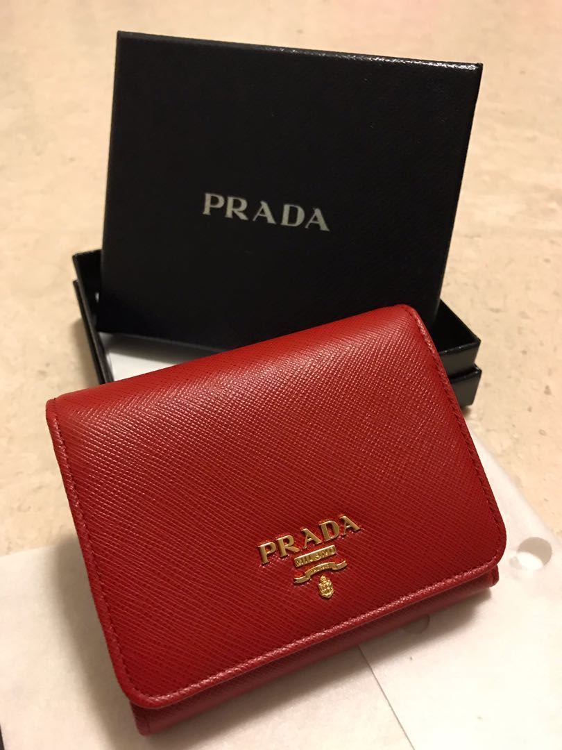 68f4a03eadbe Red Prada Saffiano Wallet, Luxury, Bags & Wallets, Wallets on Carousell
