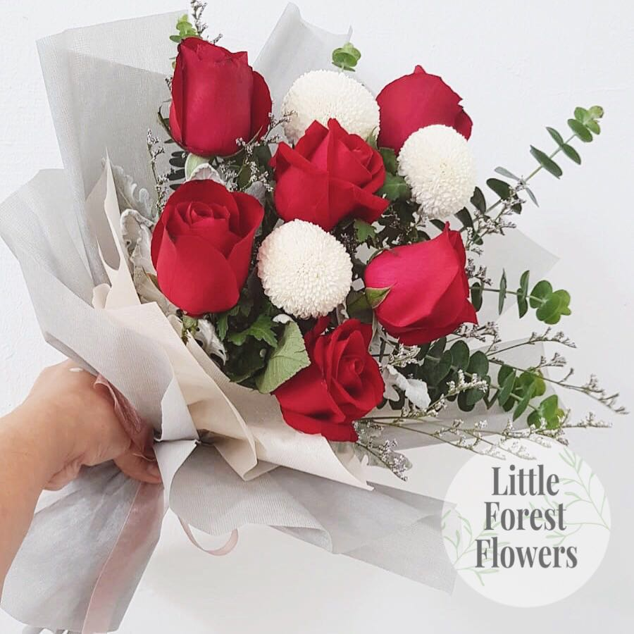 Roses x Pom Pom Bouquet - Fresh Flower Bouquet, Gardening, Flowers & Bouquets on Carousell