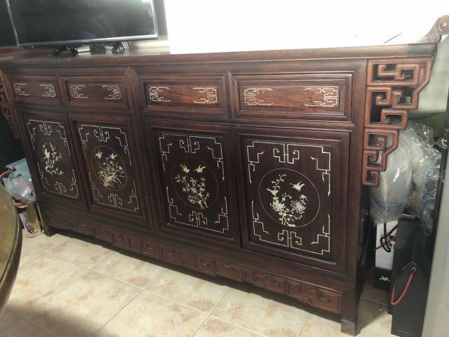 Rosewood Sideboard with Mother-of-pearl Inlay.