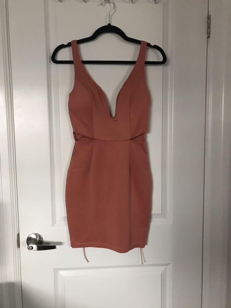 Salmon Dress with side Cutouts