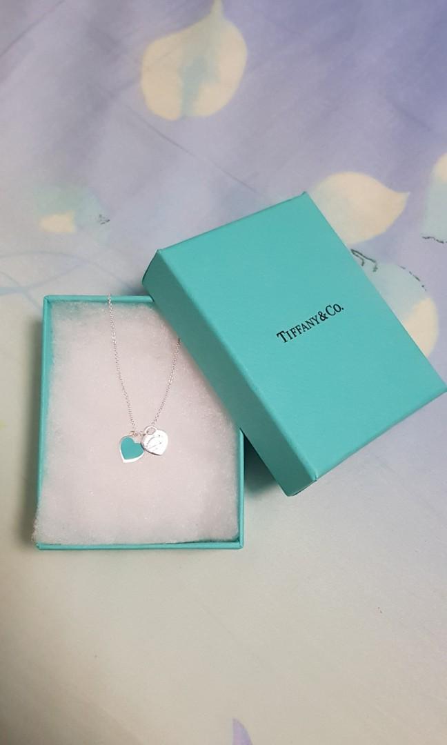 bd9d49dc9 Tiffany & Co Mini Double Heart Necklace (Blue), Women's Fashion ...