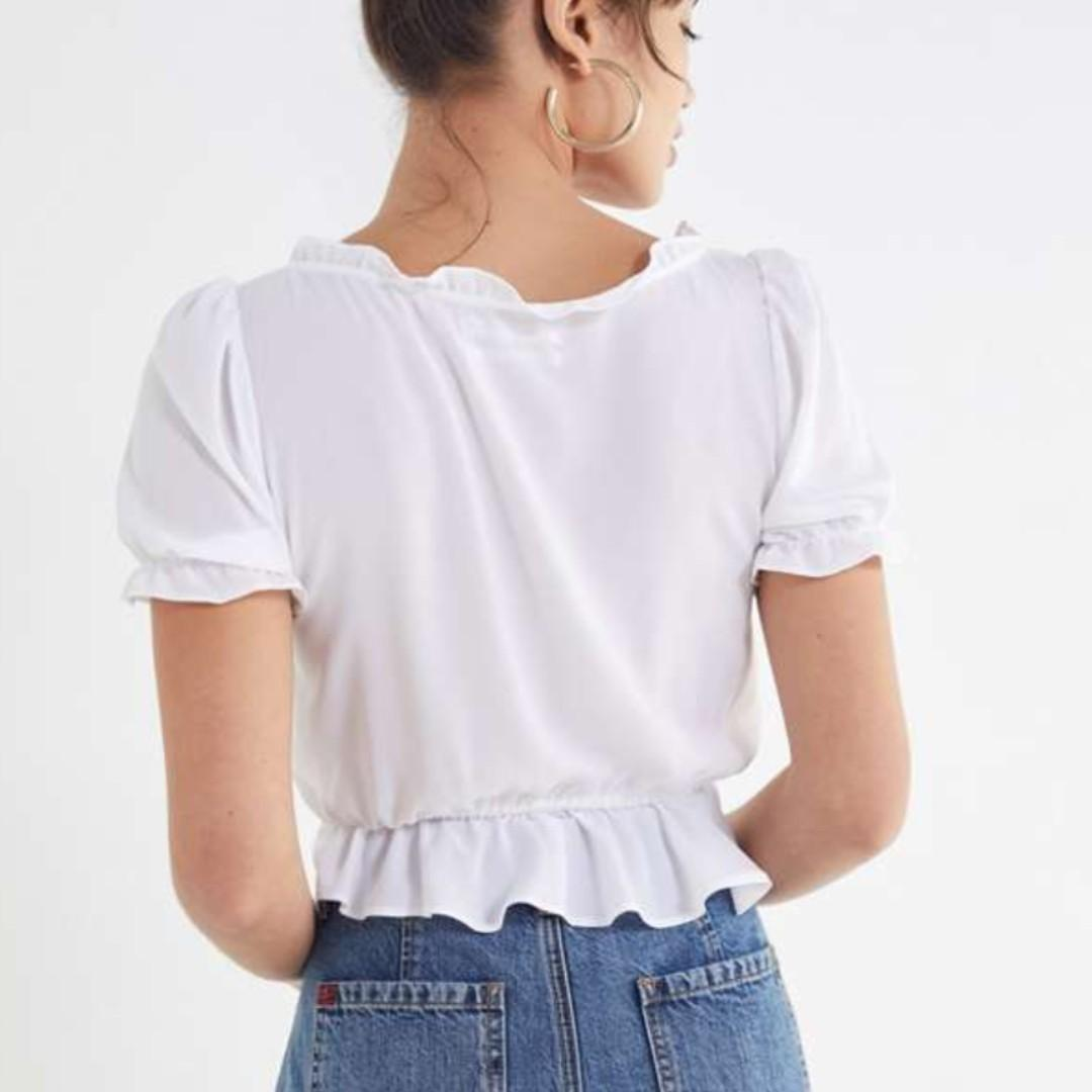 UO Riley Ruffle Tie-Front Blouse White - Size Small