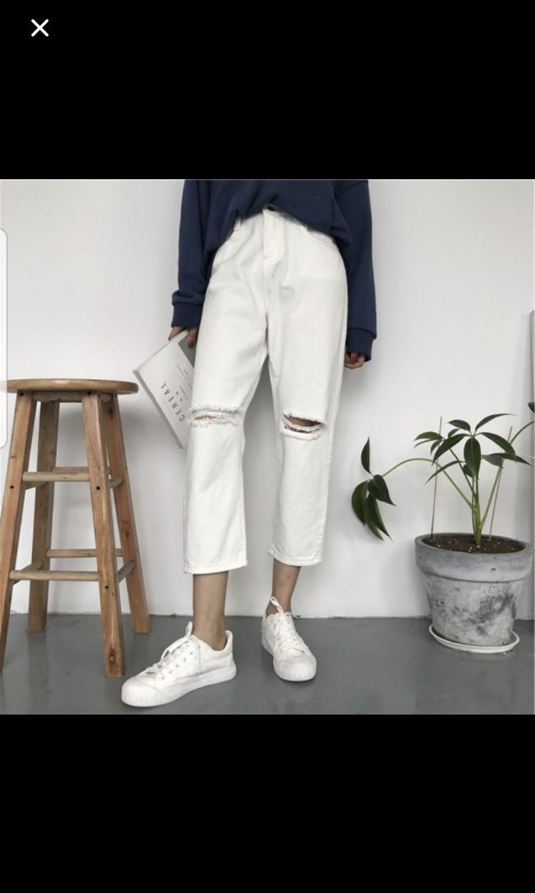 white high waist ripped jeans