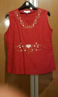 Sleeveless Red Embroidered Top