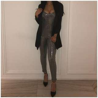 Sparkly silver metallic jumpsuit for sale