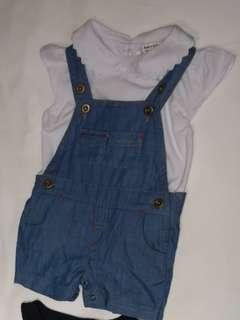 Preloved 0-3 Months Baby Girl Overalls and White Top Set