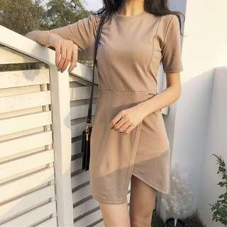 Khaki Brown Asymmetrical Mini Dress