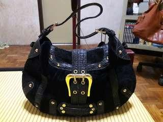 MeDiCi Velvet Leather Studded Black Bag