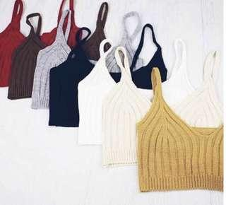 Cream Knitted Crop Top ☀️