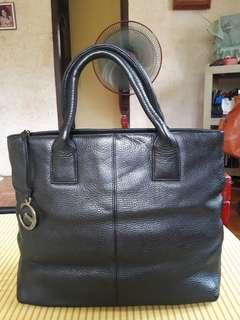 ECRU Genuine Leather Black Tote Bag