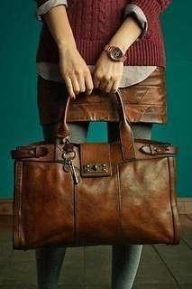 Fossil Vintage Reissue Leather Weekender Bag