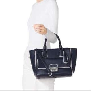 Michael Kors Audrey Satchel Handbag Navy blue buckle