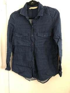 Zara navy blue button up size S
