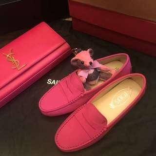 全新桃紅色tods 豆豆鞋36.5