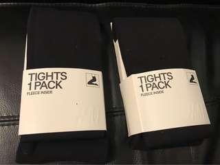 New H&M tights black stockings x 2 pcs size Small