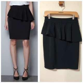 Zara S Black Peplum Pencil Skirt