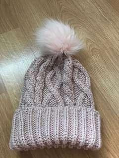 Baby pink Pom Pom hat