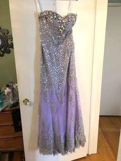 Tony Bowls Gown- Lavender colour with silver detail and sequence