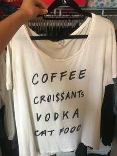 """Talula """"coffee croissants vodka cat food"""" tee"""