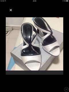 Silver Black Heels (Used once)