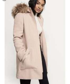 DYNAMITE Wool Coat with Fur
