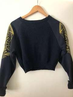 Cropped Navy and gold jumper