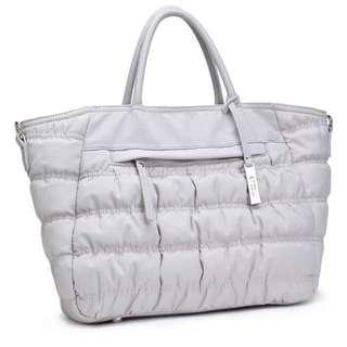 灰色 間棉 大容量 兩用袋/媽媽袋