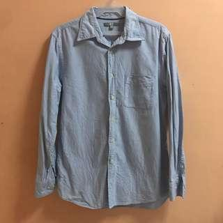 Uniqlo Oxford Blue long sleeve button down polo