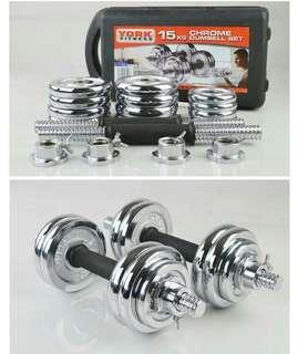 15KG Dumbbell Bars With Rubber Handles