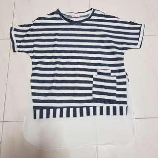 🚚 [CLEARANCE] Navy Blue and White Striped Top