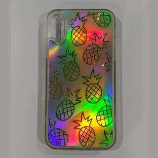 iPhone X Xs Mirror Reflective Glitter Pineapple Case Cover
