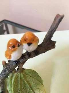 2Birds On A Leaf Branch