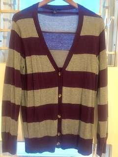 Gray violet stripes cardigan