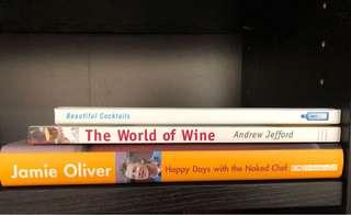 Jamie Oliver's cook book, wine book and cocktails book