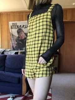 Yellow plaid tartan checked playsuit size XS