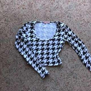 Checked gingham long sleeve crop top size XS