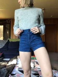 Blue slim high waisted shorts size 6
