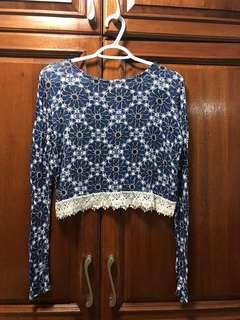 H&M Blue printed long sleeve