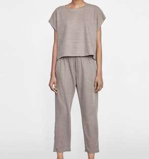 Zara Beige Drawstring Pants & Matching Top