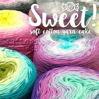 SWEET! Soft cotton yarn cake, gradient yarn, yarn cake for Crochet, Knitting, Weaving & tapestry