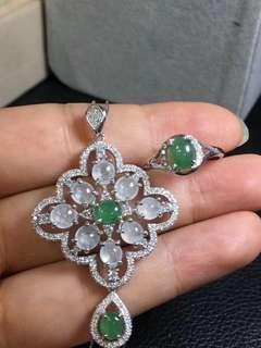 🌹银镶冰绿翡翠豪华套装🔥  冰透水灵 贵气优雅