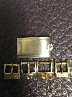 ROLEX錶帶蓋 OMEGA錶帶金扣(白金、黃金)2個 CYMA錶帶金扣1個 BULOVA錶帶普通扣1個