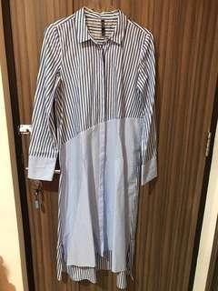 ZARA blue & white stripes long dress - kemeja garis2 dress zara