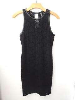 Stradivarius new dress hitam brukat belum pernah dipakai FREE ONGKIR