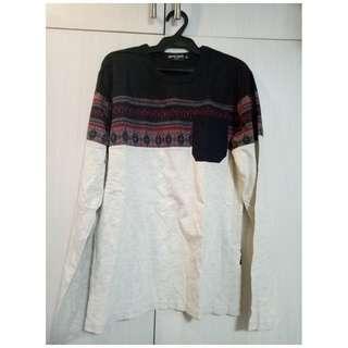 Cream and navy long-sleeved shirt