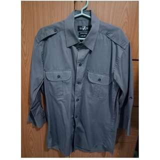 Gray button down with 3/4 sleeves